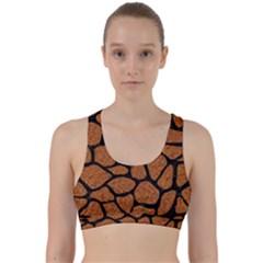 Skin1 Black Marble & Rusted Metal (r) Back Weave Sports Bra