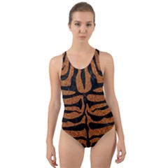 Skin2 Black Marble & Rusted Metal Cut Out Back One Piece Swimsuit