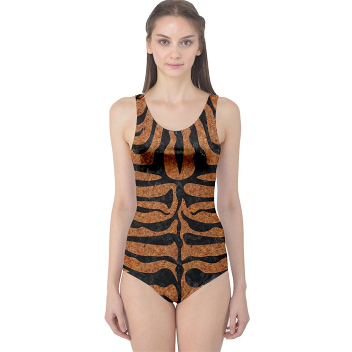 SKIN2 BLACK MARBLE & RUSTED METAL One Piece Swimsuit