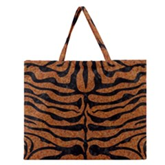 Skin2 Black Marble & Rusted Metal Zipper Large Tote Bag
