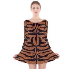 Skin2 Black Marble & Rusted Metal Long Sleeve Velvet Skater Dress