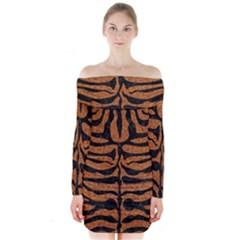Skin2 Black Marble & Rusted Metal Long Sleeve Off Shoulder Dress