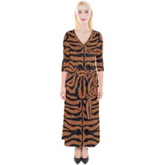 Skin2 Black Marble & Rusted Metal Quarter Sleeve Wrap Maxi Dress