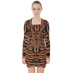Skin2 Black Marble & Rusted Metal V Neck Bodycon Long Sleeve Dress