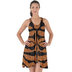 Skin2 Black Marble & Rusted Metal Show Some Back Chiffon Dress