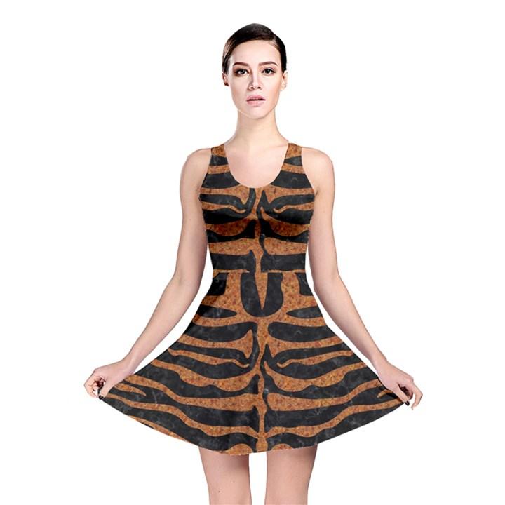 SKIN2 BLACK MARBLE & RUSTED METAL (R) Reversible Skater Dress