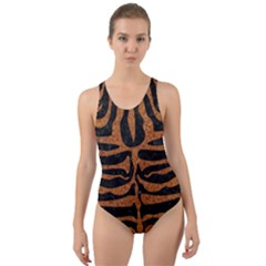 Skin2 Black Marble & Rusted Metal (r) Cut Out Back One Piece Swimsuit