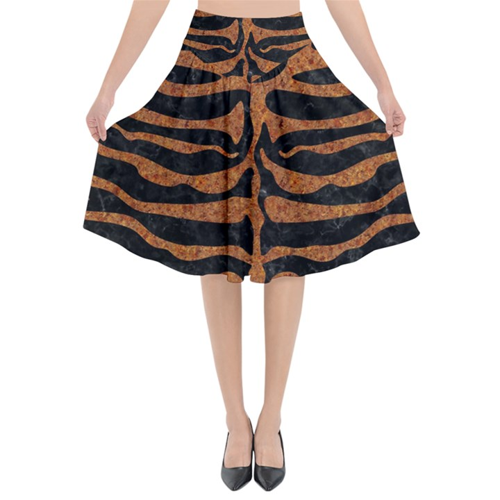 SKIN2 BLACK MARBLE & RUSTED METAL (R) Flared Midi Skirt