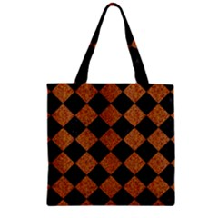 Square2 Black Marble & Rusted Metal Zipper Grocery Tote Bag