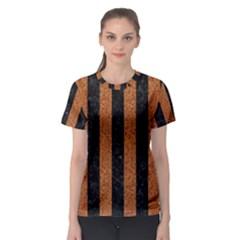 Stripes1 Black Marble & Rusted Metal Women s Sport Mesh Tee