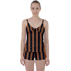 Stripes1 Black Marble & Rusted Metal Tie Front Two Piece Tankini