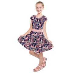 Purple & Pink Elegant Reindeer Kids  Short Sleeve Dress