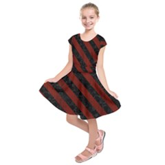 Stripes3 Black Marble & Reddish Brown Wood Kids  Short Sleeve Dress