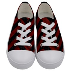 Stripes3 Black Marble & Reddish Brown Wood Kids  Low Top Canvas Sneakers