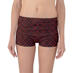 Woven2 Black Marble & Reddish Brown Wood Reversible Boyleg Bikini Bottoms