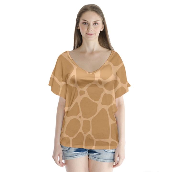 Autumn Animal Print 10 V-Neck Flutter Sleeve Top