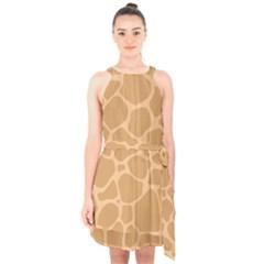 Autumn Animal Print 10 Halter Collar Waist Tie Chiffon Dress