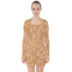 Autumn Animal Print 10 V Neck Bodycon Long Sleeve Dress