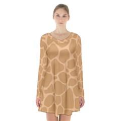 Autumn Animal Print 10 Long Sleeve Velvet V Neck Dress