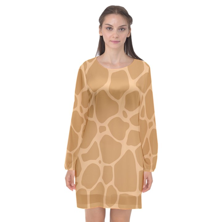 Autumn Animal Print 10 Long Sleeve Chiffon Shift Dress