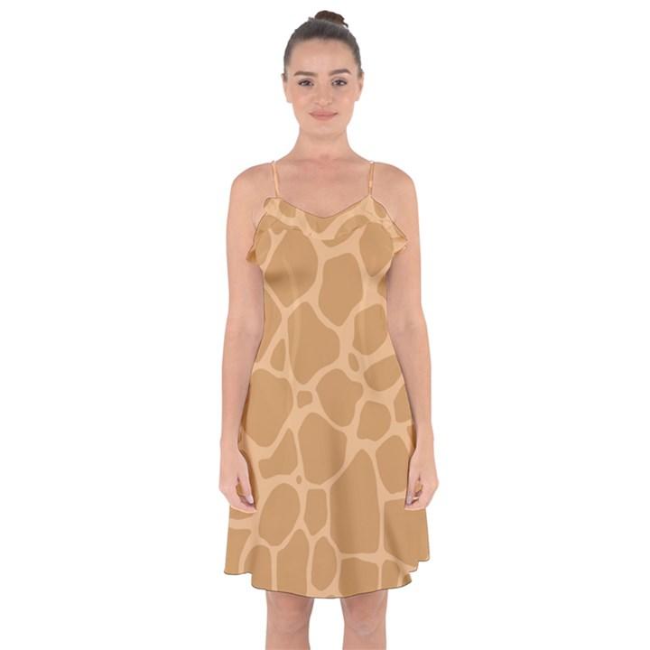 Autumn Animal Print 10 Ruffle Detail Chiffon Dress