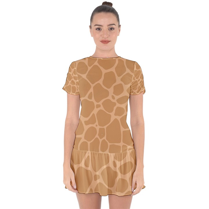Autumn Animal Print 10 Drop Hem Mini Chiffon Dress