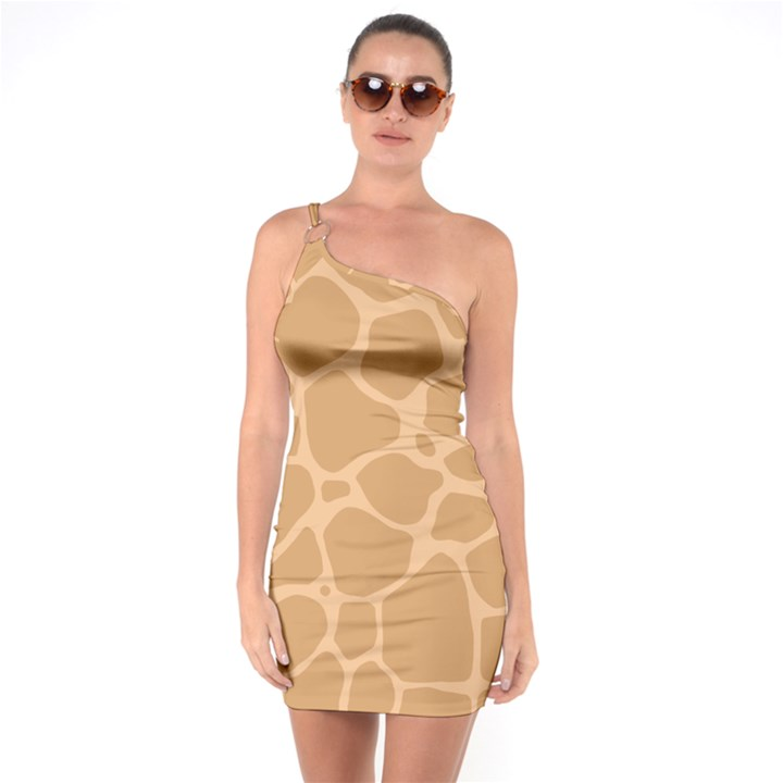 Autumn Animal Print 10 One Soulder Bodycon Dress