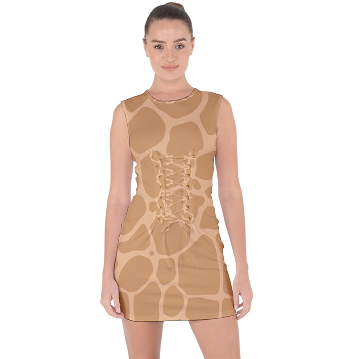 Autumn Animal Print 10 Lace Up Front Bodycon Dress