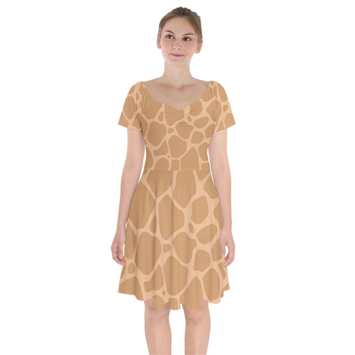 Autumn Animal Print 10 Short Sleeve Bardot Dress