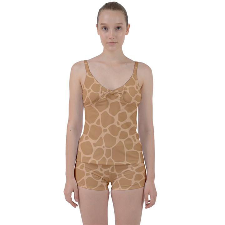 Autumn Animal Print 10 Tie Front Two Piece Tankini