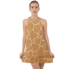 Autumn Animal Print 10 Halter Tie Back Chiffon Dress
