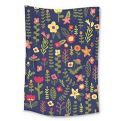 Cute Doodle Flowers 1 Large Tapestry
