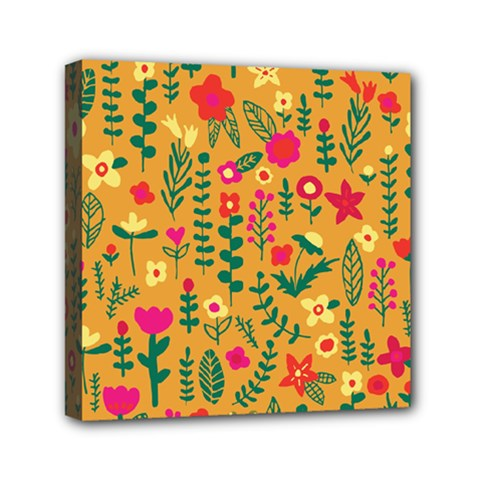 Cute Doodle Flowers 4 Mini Canvas 6  X 6