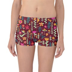 Cute Doodle Flowers 6 Boyleg Bikini Bottoms