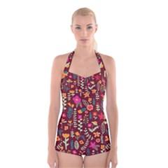 Cute Doodle Flowers 6 Boyleg Halter Swimsuit