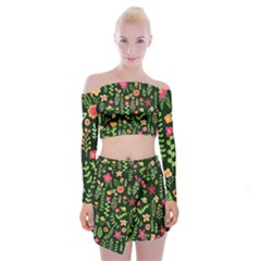 Cute Doodle Flowers 7 Off Shoulder Top With Mini Skirt Set