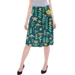 Cute Doodle Flowers 10 Midi Beach Skirt