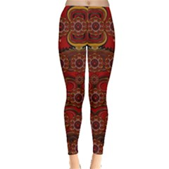 Pumkins  In  Gold And Candles Smiling Leggings