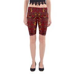 Pumkins  In  Gold And Candles Smiling Yoga Cropped Leggings