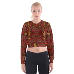 Pumkins  In  Gold And Candles Smiling Cropped Sweatshirt