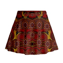 Pumkins  In  Gold And Candles Smiling Mini Flare Skirt