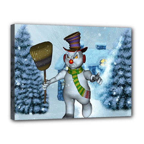 Funny Grimly Snowman In A Winter Landscape Canvas 16  X 12