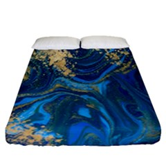 Ocean Blue Gold Marble Fitted Sheet (queen Size)