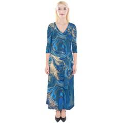 Ocean Blue Gold Marble Quarter Sleeve Wrap Maxi Dress