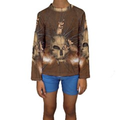 Awesome Skull With Rat On Vintage Background Kids  Long Sleeve Swimwear