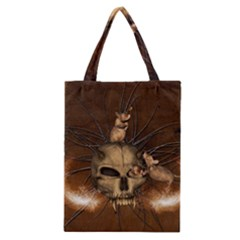 Awesome Skull With Rat On Vintage Background Classic Tote Bag