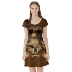 Awesome Skull With Rat On Vintage Background Short Sleeve Skater Dress