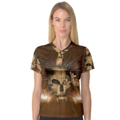 Awesome Skull With Rat On Vintage Background V Neck Sport Mesh Tee