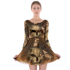 Awesome Skull With Rat On Vintage Background Long Sleeve Skater Dress