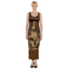 Awesome Skull With Rat On Vintage Background Fitted Maxi Dress